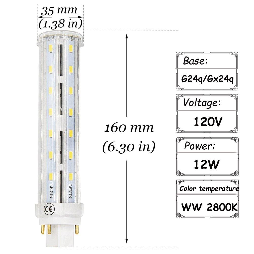 G24Q Base LED Bulb Lustaled 12W GX24Q 4 Pin LED Rotatable PL Corn Light  Lamps Warm White 2800K LED GX24(G24) Lights 26W CFL/Compact Fluorescent  Lamp ...