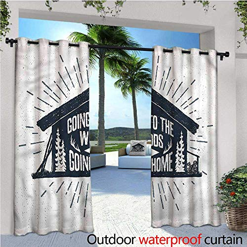 warmfamily Cabin Exterior/Outside Curtains Wooden Cabin Chalet Quote for Patio Light Block Heat Out Water Proof Drape W120 x L84