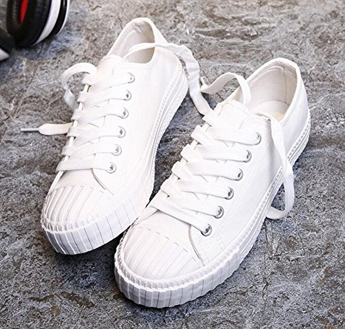 Rojeam 36 Casual Shoes Shoes Textile Sneaker Deportivo para 40 Calzado Top Mujer Sneaker Blanco Low Sneaker rC4qr