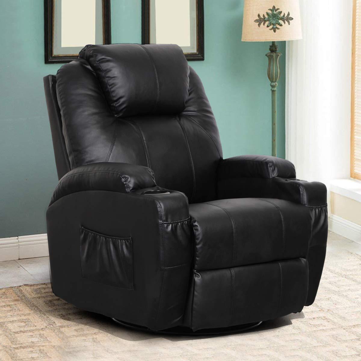 Esright Massage Recliner PU Leather Ergonomic Lounge Heated Chair 360 Degree Swivel Recliner (Black) by Esright