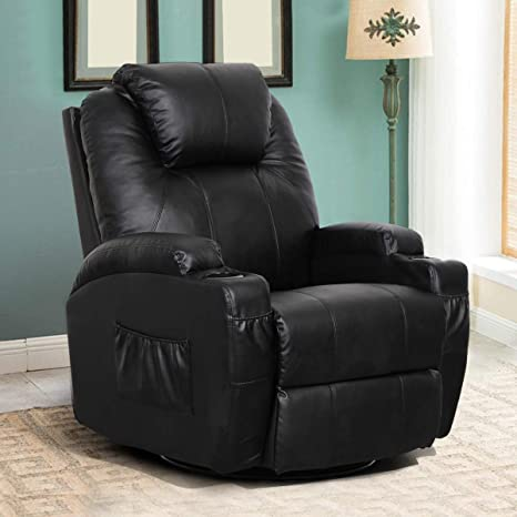 Swell Esright Massage Recliner Pu Leather Ergonomic Lounge Heated Chair 360 Degree Swivel Recliner Black Short Links Chair Design For Home Short Linksinfo