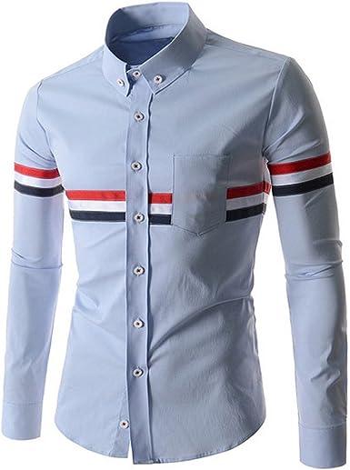 SODIAL Camisa Hombres Camisas de Patron de Rayas Decoradas De ...