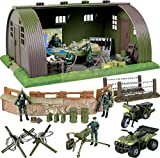 military action figures - Click N' Play Mega Military Army Base Barrack Command Center Play Set With Accessories -74 Pieces.
