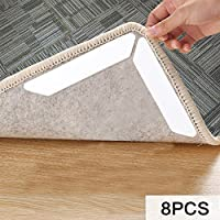 Reusable Non Slip Rug Grippers 8 Pcs Carpet Pad - Safe for Your Floors & Home - Makes Vacuuming Easier - Hand Washable for Easy Care