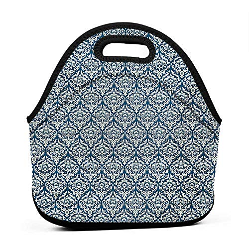 - Neoprene Lunch Bag Victorian,Fashionable Modern Country Style Abstract Illustrated Antiquity Vintage,Navy Blue Cream,sequin lunch bag for girls