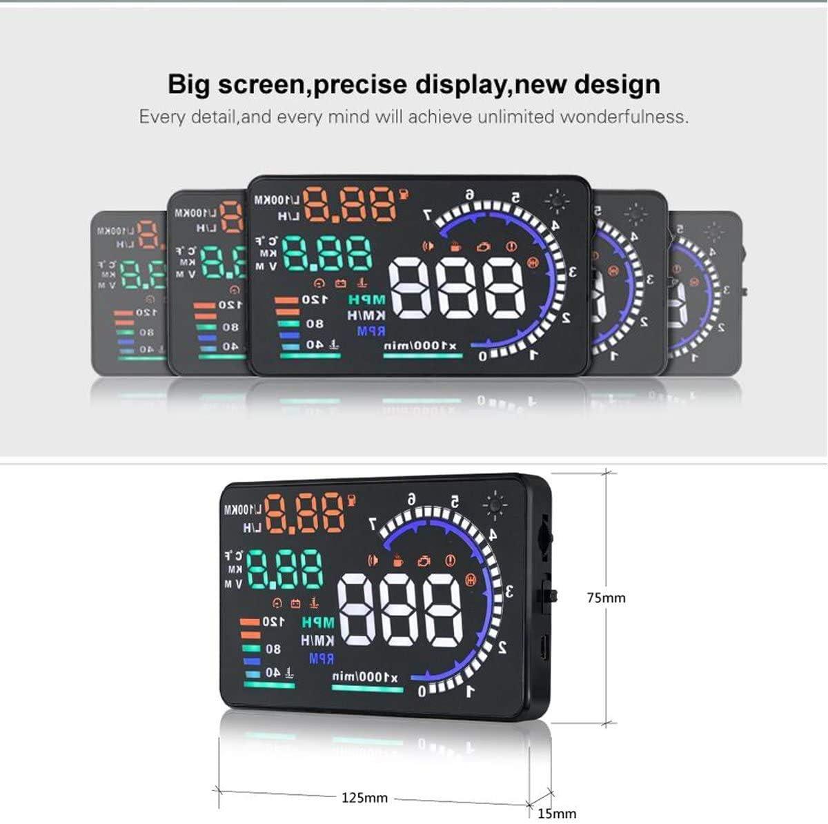 A8 Car Head up Display HUD 5.5 Dash Screen Projector OBD II OBD2 Auto Gauge RPM MPH Speedometer Warning Fuel Consumption Temperature Multiple-Color Bright KAOLALI