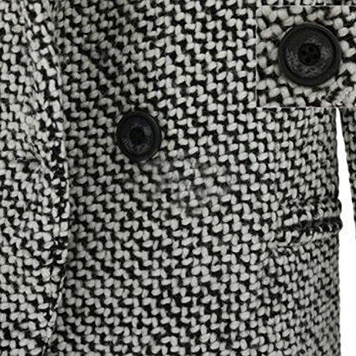 Blazer Invernale Risvolto Giacche Trench Lunga Vintage Semplice Manica Cardigan Giacca Cappotti Landove Elegante Sottile Ufficio Grigio Casual Moda Lana – Parka Donna Aderenti Overcoat Caldo Outwear UWZZqp5