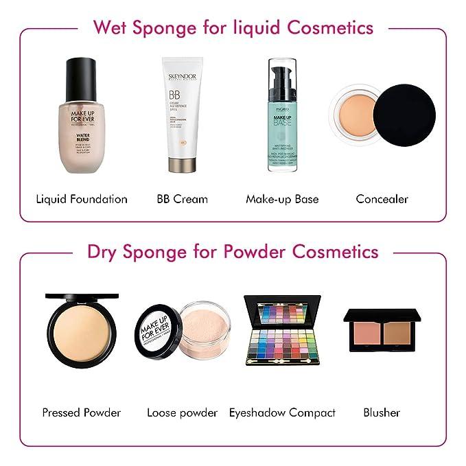 Maquillaje Esponjas, Belicoo Beauty Blender, 6Pcs Látex Gratis Fundación Esponjas Perfecto para Líquido/Polvo/Crema Productos cosméticos. Multicolor ...