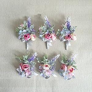 Yokoke Artificial Succulent Boutonniere Bouquet Corsage Wristlet Vintage Silk Fake Pink Rose Peony Unicorn Color Flowers Flocked Plants For Groom Bride Wedding Decor 1 Pc (corsage A) 2