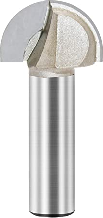 Rannb Core Box Router Bit 2 Flutes Radius Round Nose Router Bit 1//2 Shank 1-1//4 Cutting Dia