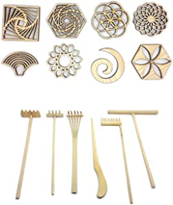 Sand Stamps and Tool Rake Set for Mini Zen Garden