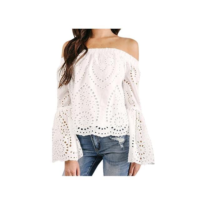 JYC Camiseta Mujer Blanco,Ultra Mujer Camiseta Básica Algodón,Mangas Largas Volantes Lunares,