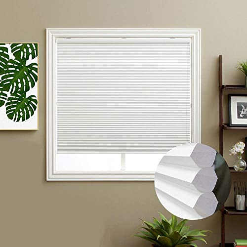 Keego Corded Light Filtering Cellular Shades, Custom Size Window Blinds, White, 26 W x 72 H, Honeycomb Blinds for Windows