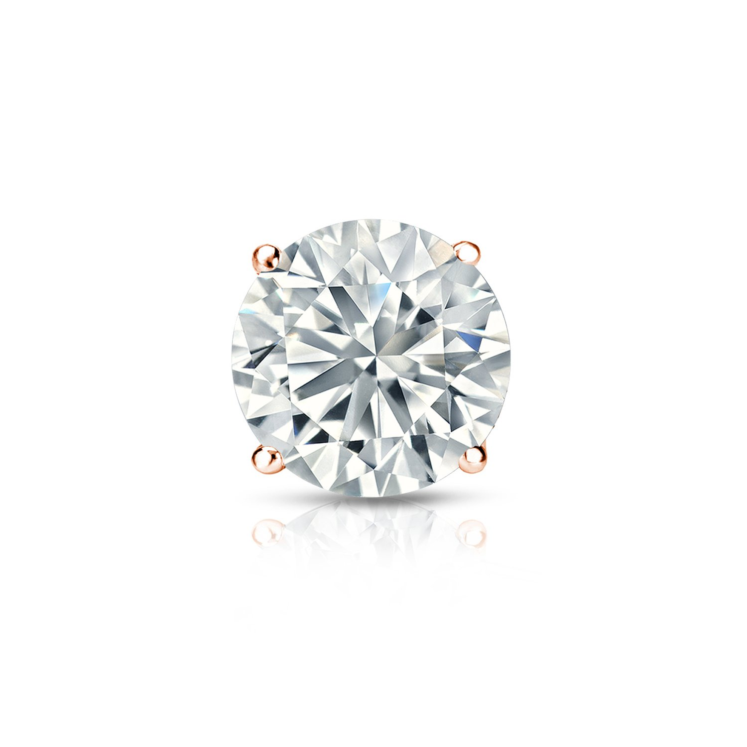 1//8-1cttw,Excellent Quality 14k Rose Gold Round Diamond Simulant CZ SINGLE STUD Earring 4-Prong