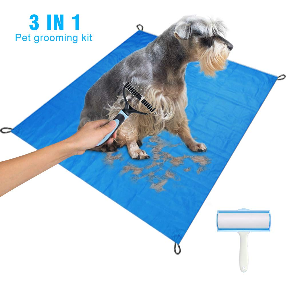 LATIT Pet Grooming Tool, Brush for Cats & Dogs, Pet Hair Remover Set, Includes Double-Sided Dematting Comb, Lint Roller and Pet Compact Pocket Beach Blanket Mat for Small/Medium/Large Dogs/Cats