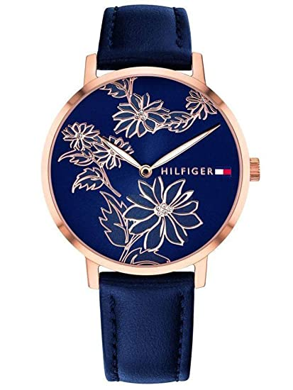 Tommy Hilfiger Womens Gold Quartz Watch with Leather Calfskin Strap, Blue, 16 (Model: 1781918)