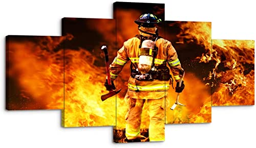 VIIVEI Large Firefighters Fireman Canvas Wall Art Prints Home Decor Decals Gift