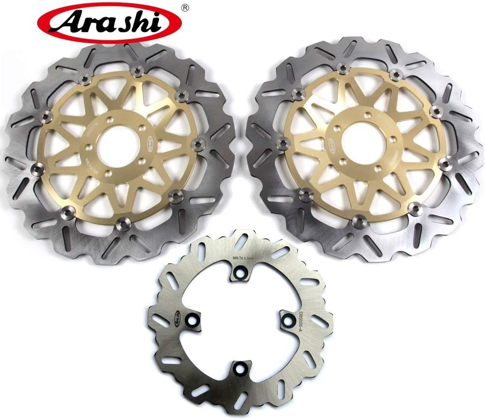 Arashi Front Rear Brake Disc Rotors for KAWASAKI Ninja ZX10R 2004-2007 Motorcycle Replacement Accessories ZX-10R ZX 10R 2005 2006 Gold ZX6R ZX-6R
