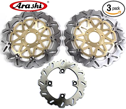 ZRX1200 ZRX1200R ZRX1200S 2001-2006 Motorcycle Replacement Accessories Gold ZRX 1100 1200 Arashi Brake Disc Rotors Front and Rear for Kawasaki ZRX1100 1999-2000