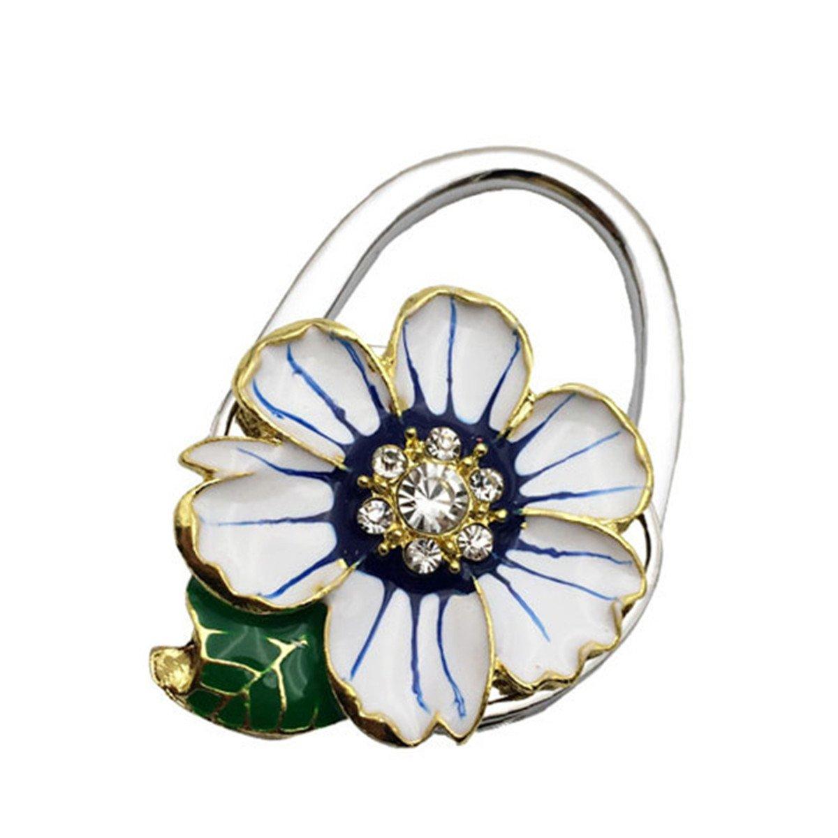 Beige Chrysanthemums with Leaves Designed Shoulder Handbag Folding Purse Holder Hangers Hooks Foldable Purse Hanger Handbag Table Hook Holder
