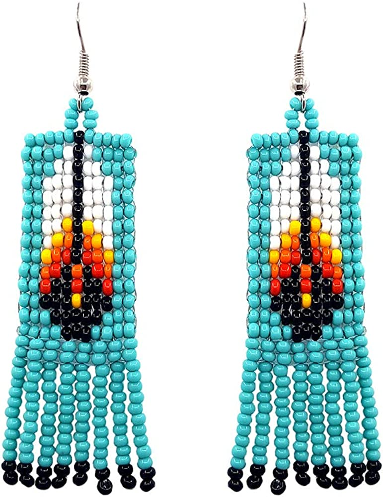 handmade earrings seed beaded fringe earrings seed bead jewelry Brown-blue color long dangle beadwork earrings handmade jewelry