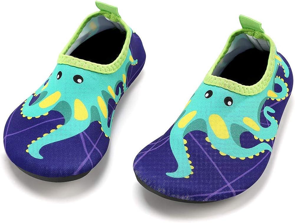 Boys Girls Quick Drying Aquatic Beach Shoes Barefoot Slip On Aqua Socks KUNSHOP Kids Water Shoes