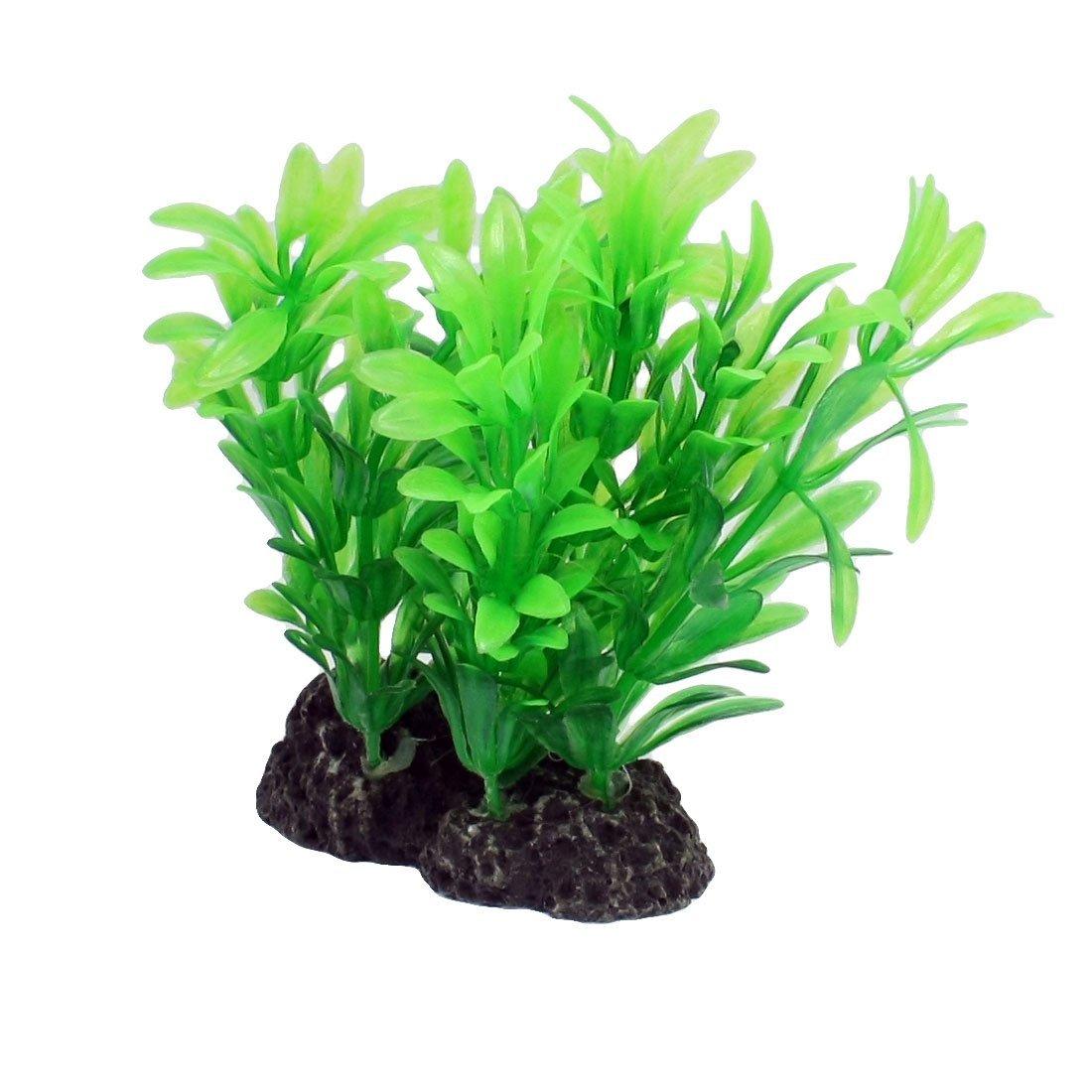 5 Pcs Aquarium Tank Green Plastic Grass Plant 4.3  Height w Ceramic Base