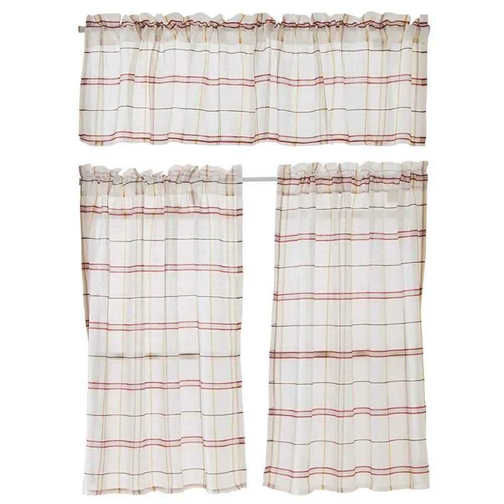 Boyouth Linen Blend Red Plaid Printed Rod Pocket Semi Shading Short Curtains(54x24-Inch) 1 Panel