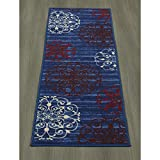 Cheap Ottomanson Studio Collection Modern Medallion Design Runner Rug, 20″ X 59″, Blue