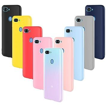 ivencase 9 × Funda Xiaomi Mi 8 Lite, Carcasa Fina TPU Flexible Cover para Xiaomi Mi 8 Lite (Rosa Gris Rosa Claro Amarillo Rojo Azul Oscuro Translúcido ...