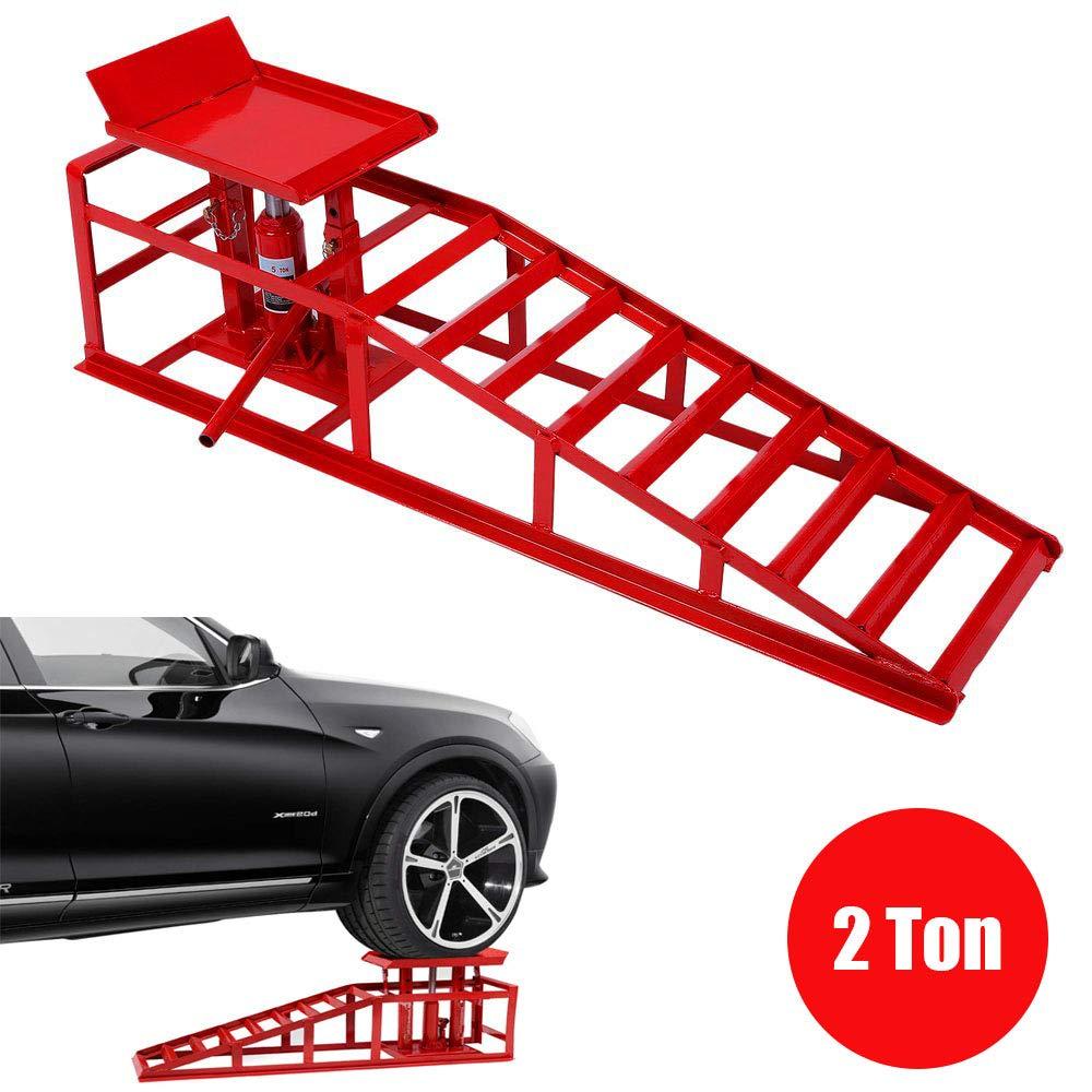 Burrby 2 ton auto rampa, rampa + jack, coppia Heavy Duty veicolo furgone rampe di sollevamento con sollevamento idraulico jack regolabile in altezza per pneumatici di larghezza fino a 255 mm Red -2pcs