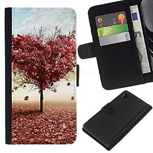 Planetar® Modelo colorido cuero carpeta tirón caso cubierta piel Holster Funda protección Para SONY Xperia Z2 / D6502 / L50 D6502 ( Tree LOVE )
