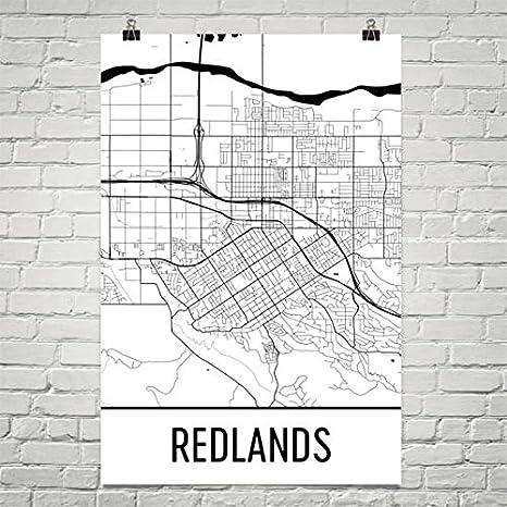 Amazon Com Redlands Ca Map Redlands Art Redlands Print Redlands