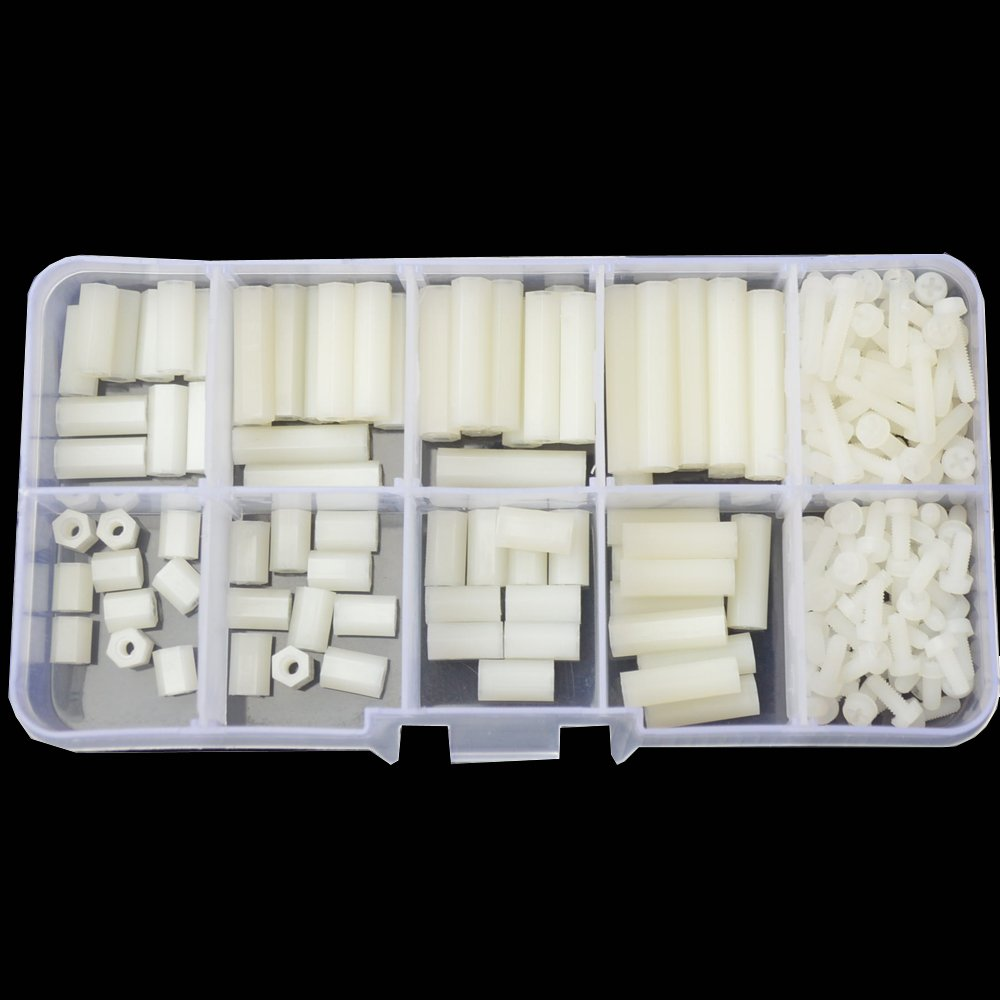 M2.5 Female ; White Computer /& Circuit Board Assortment Kit M2.5 Nylon Hex Standoff Plastic Thread Motherboard Spacer Prototyping Accessories For PCB Quadcopter Drone