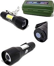 lanterna recarregável usb luz emergência Camping ciclismo função strobo compacta