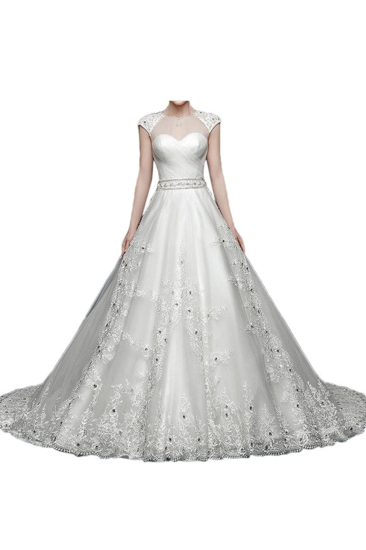 Victory Bridal 2015 Neu Zarte Kurzarm Spitze Tuell Hochzeitskleider Brautkleider Brautmode Lang Schleppe