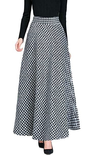 bf2dc3437c3a ONTBYB Women's Autumn Winter Plaid Wool Woolen Long Maxi Skirt with Pockets  at Amazon Women's Clothing store: