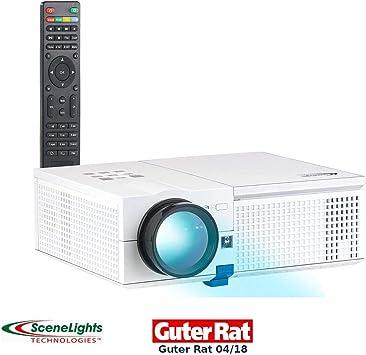SceneLights LED Heim Beamer: LED-LCD-Beamer mit Media-Player 1280 x 800 Pixel Projector und 2.400 Lumen HD