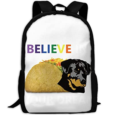 ZQBAAD Believe In Your Dream Taco Dog Luxury Print Men And Women's Travel Knapsack