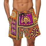 African Art Tribal Print Men's Swim Trunks Water Beach Shorts with Pockets