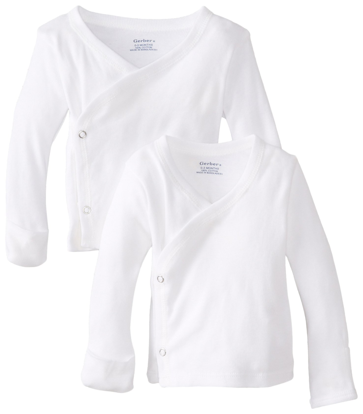Gerber Unisex Baby 2 Pack Long-Sleeve Shirts with Side Snap and Mitten Cuffs