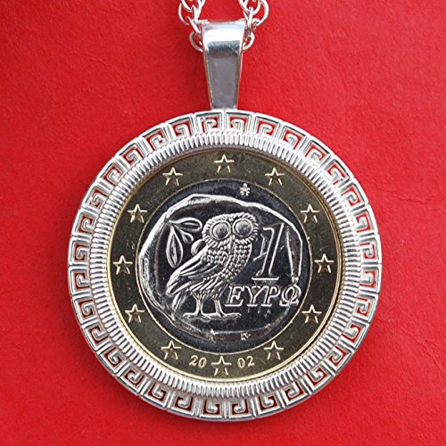 2002 Greece One Euro BU Unc Ancient Athenian Coin Solid 925 Sterling Silver Necklace NEW - Owl