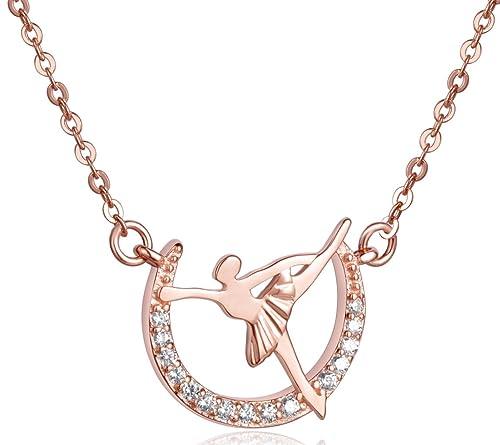 f244e4e689 Infinite U Elegante Ballerina Ciondolo Collana da donna in argento Sterling  925 con zirconi per ballerina