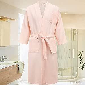SJIUH Bata de Pijama,Hotel de 5 Estrellas 100% algodón Hombres Kimono Albornoz Talla Grande Toalla de baño Albornoces para Hombre para Mujeres Bata Larga Ropa de Dormir, Rosa, M: Amazon.es: Hogar