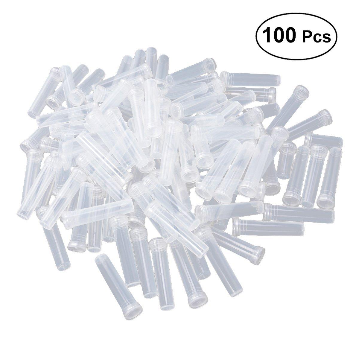 Healifty Acqua floreale Tubi provette di plastica trasparente fiale con tappi per composizioni floreali - 100pz