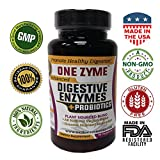 OneZyme - Best Digestive Enzymes Supplement with Probiotics - Plant Based Protease, Amylase, Lactase, Lipase to support Healthy Digestion - Helps Constipation, Bloating, Gas and IBS. - 90 Capsules