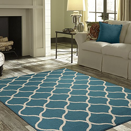 (Maples Rugs Area Rugs Sets - Rebecca [3pc Set] Non Slip Large Carpet Runner Rug [Made in USA] for Living Room and Kitchen, Rugs Set, Teal/Sand)