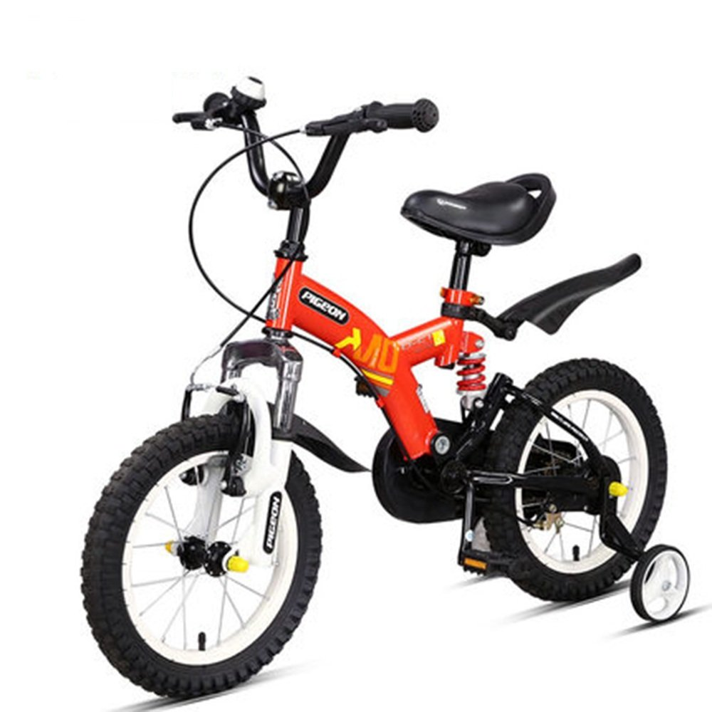 マチョン 自転車 フルフロントフォークとフレームダブルサスペンション子供用自転車はレッドイエローオレンジフロントとリアショックアブソーバです B07DS76YB8 Red -16 Red -16