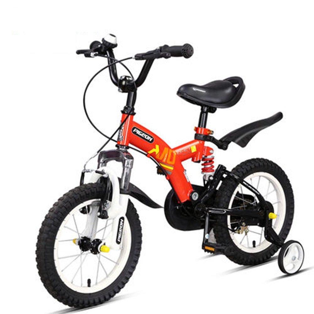 PJ 自転車 フルフロントフォークとフレームダブルサスペンション子供用自転車はレッドイエローオレンジフロントとリアショックアブソーバです 子供と幼児に適しています ( 色 : Red -16 ) B07CQWKZ3T Red -16 Red -16