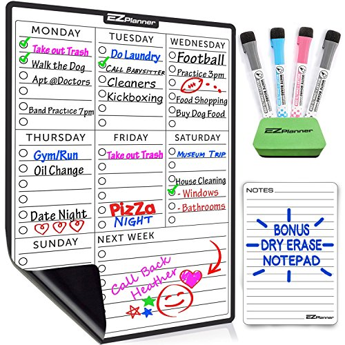 Weekly Dry Erase Planner Board for Refrigerator - 4 Fine Tip Markers & Large Magnetic Eraser - Daily Reminder - Whiteboard Calendar Organizer
